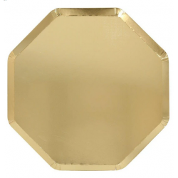 8 Platos octogonales dorados. 26 cms