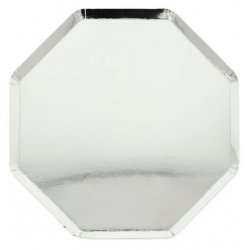 8 Platos octogonales plateados. 26 cms