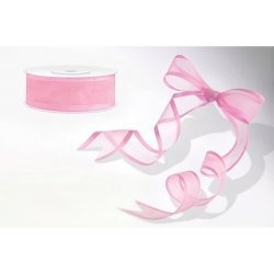 25 Metros de cinta de organza rosa con ribete. Ancho 25 mm