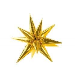 Globo metalizado estrella dorada 3d. 95 cms