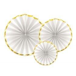 3 Abanicos de papel blanco, con ribete dorado