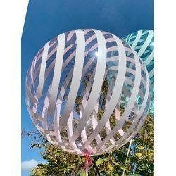 Globo burbuja rayas rosa. 46 cms.