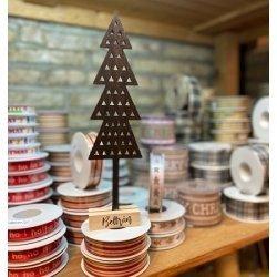Árbol de Navidad personalizado - Abeto negro de madera 7.5 x 2.5 x 31 cm