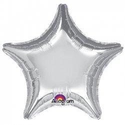Globo metalizado estrella plata. 81 cms
