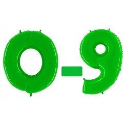 Globo número del 0 al 9, poliamida verde brillante. 102 cms