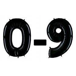 Globo número del 0 al 9, poliamida negro brillante. 66 cms