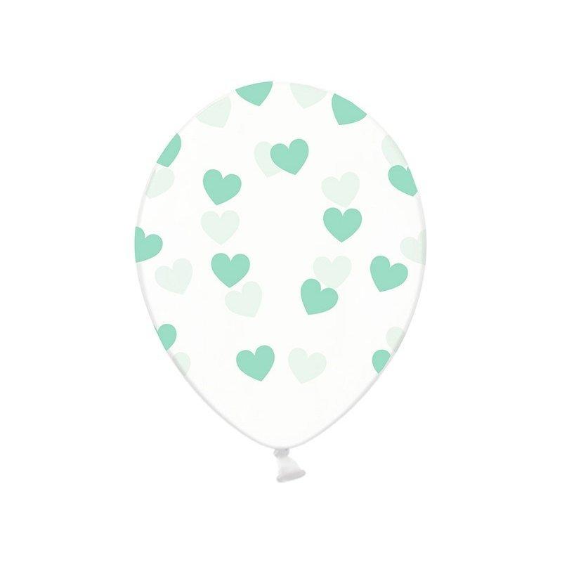 5 Globos de látex, Transparentes con corazones mint - verde agua