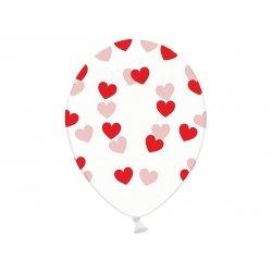 5 Globos de látex, Transparentes con corazones rojos