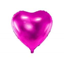 Globo corazón Fucsia metalizado. 45 cms