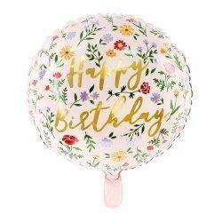 Globo metalizado esfera florecitas, Happy Birthday
