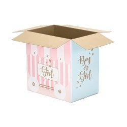 Caja de cartón decorada, Niño / Niña, para envío de globos.