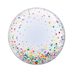 Globo burbuja, confeti multicolor. 60 cms.