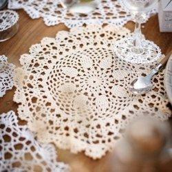 Bajo plato de crochet/ganchillo marfil. 30 cms