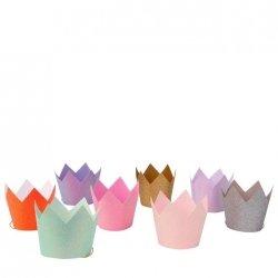 8 coronas glitter, surtidas en 8 colores