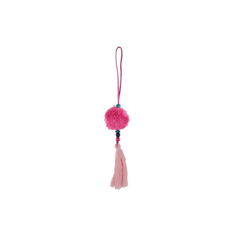 Borla rosa con pompón.