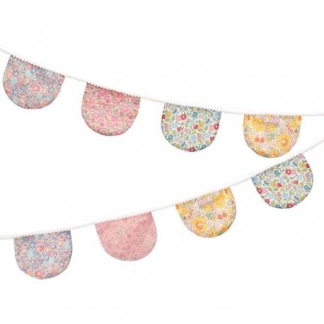 Guirnalda con banderines textiles de flores Liberty