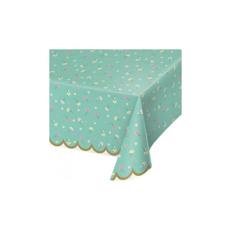 Mantel de plástico mint con florecitas 1.37x2.59 m