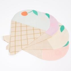 16 servilletas en forma de cono de helado