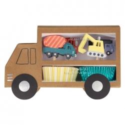kit de 24 piezas, para cup cakes camiones de la construcción.