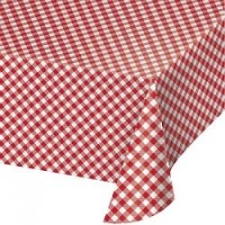 Mantel de papel, cuadritos vichy rojos. 1.37x2.6 m