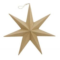 Estrella colgante de cartón kraft. 20 cms