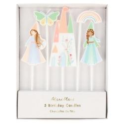 5 Velas Fiesta de Princesas mágicas y Unicornios, de Meri Meri Party. 18 cms