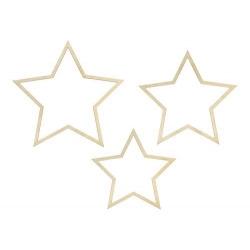 Set de 3 Estrellas de madera natural