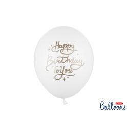 5 globos Happy Birthday blanco y oro