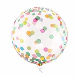Globo burbuja, confeti multicolor, 40 cms