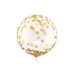 Globo burbuja, confeti dorado, 40 cms