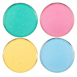8 Platos en colores surtidos con confeti dorado