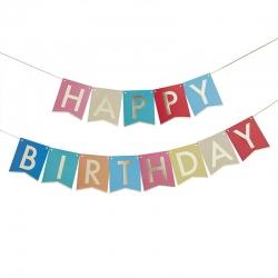 Guirnalda Happy Birthday, multicolor / oro