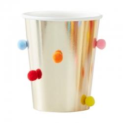 8 Vasos dorados con pompones de colores