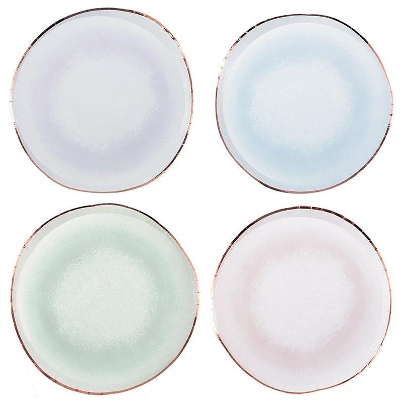 8 Platos en colores surtidos con efecto splash