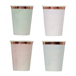 8 Vasos en colores surtidos con efecto splash