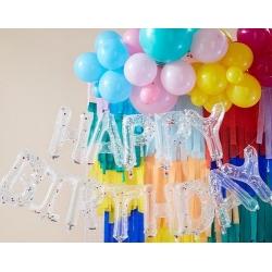 Globos Happy Birthday transparentes con confeti de colores