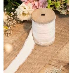 Cinta de tela rasgada, lino blanco. Ancho 3 cms