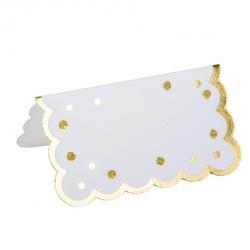 8 Marcadores de mesa / place card, blancos con lunares dorados