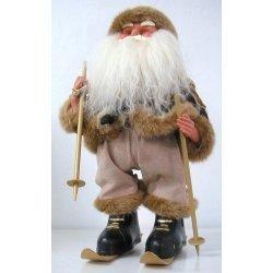 Papa Noel crema con esquíes, música y movimiento 39 cms