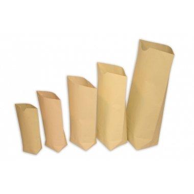 Bolsa de papel tipo americano con base, kraft natural.C/100 uds. Varias medidas, grandes.