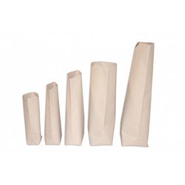 100 Bolsas de papel tipo americano con base, papel estraza semi blanco. 15x27 cms.