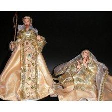 Nacimiento o Belén de Navidad crema y oro 2 piezas