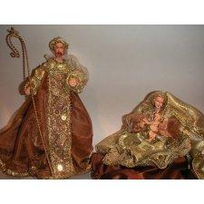 Nacimiento o Belén de Navidad marrón y oro 2 piezas h.28 ms