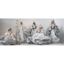 Nacimiento / Belén de Navidad plata, gris y blanco 5 piezas AGOTADO