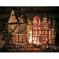 Grupo de casas, en resina, con luz led en varios tonos