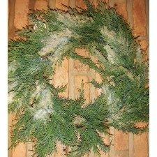 Corona de Navidad de abeto verde nevado 45 cms