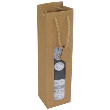 25 Bolsas para botella, kraft con ventana. 7.2x6.8x31.