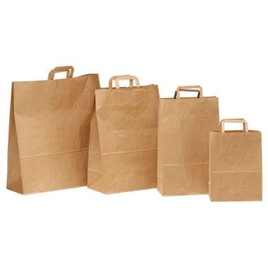 50 Bolsas de papel,22x11x32, asa plana, kraft natural
