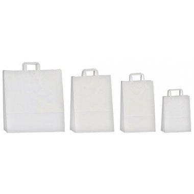 50 Bolsas de papel blanco 26x12x35. Asa plana