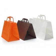 50 Bolsas de papel blanco, 26x18x25, asa plana,